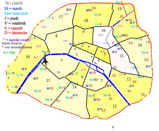 paris plan arrondissement. marchés Paris - plan marchés
